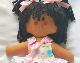 """LillieGiggles Brown Baby Rag doll named I'm a Happy Girl too rag doll stands 12"""""""
