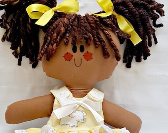 """LillieGiggles Brown Baby Rag doll named Happy Girl rag doll stands 12"""""""