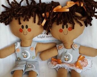 LillieGiggles Rag Doll named Little Owl on the Moon Lighter Shade Tan Baby Rag Doll Set Handmade Cloth doll