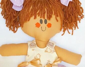 LillieGiggles Rag Doll named Sunday best Lighter Shade of Brown Tan Rag Doll Handmade Cloth doll