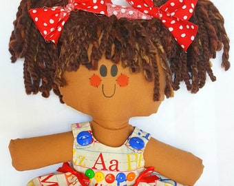 """LillieGiggles Rag Doll Brown Baby Rag doll named I Want to be a Teacher When I grow Up  Cloth doll stands 12"""""""