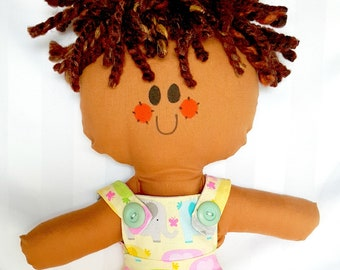 """LillieGiggles Brown Baby Rag doll named I'm a Happy Boy rag doll stands 12"""""""
