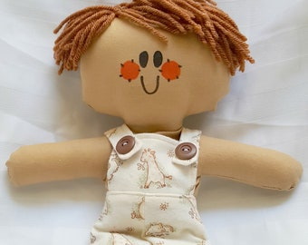 LillieGiggles Rag Doll named Sunday Best Boy Lighter Shade of Brown Tan Rag Doll Handmade Cloth doll
