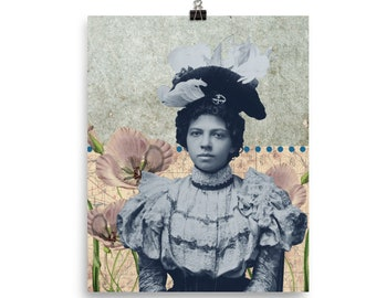 Beautiful Woman Vintage Inspired Collage Poster Print Gift for Crafter Gift for Her Gift for Mom Victorian African American History