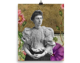 Thinking of You Victorian Woman Vintage Inspired Collage Art Poster Print Gift for Her Gift for Mom Craft Room Home Decor