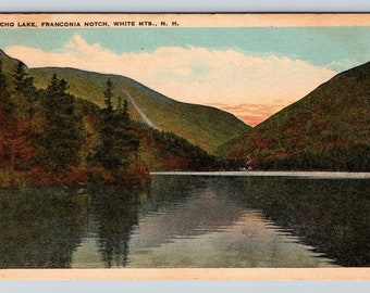 Vintage Postcard NH White Mountains Echo Lake Franconia Notch Posted 1920s New Hampshire Nature Scene
