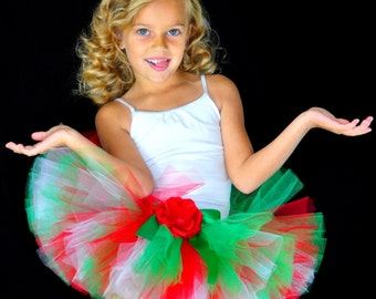 6e0b9ac85852 Red Green White Holiday Tutu, Christmas Portrait Tutu...Newborn to Adult  Tutu Sizes . . .HOLLY JOLLY CHRISTMAS