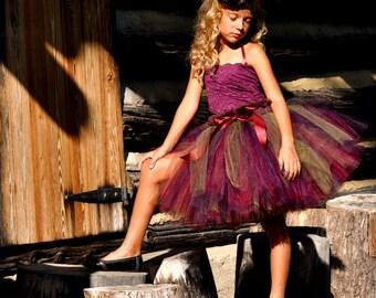 Girls Autumn Burgundy and Plum Tutu with Wide Ruffle Waist...Fall Flower Girl Tutu, Portrait Tutu. . . PLUM BERRY