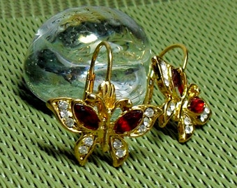 Vintage Golden Rhinestone Butterflies