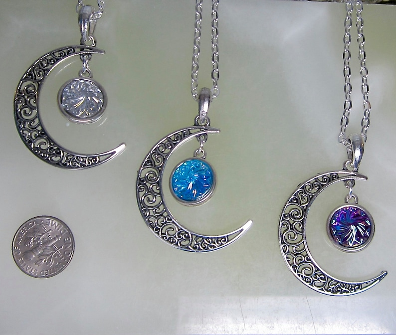 Crescent Moon With Stainless Steel Chain Necklace