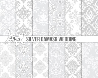 Silver wedding digital paper Grey wedding paper Printable wedding scrapbook Silver damask grey damask  Commercial use