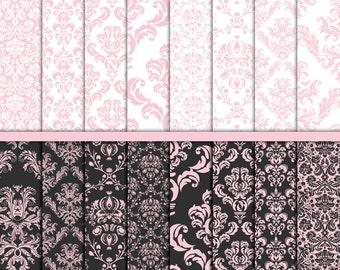 Pink Damask digital paper Wedding paper Wedding digital paper Pink white  Damask craft paper Commercial Card making Scrapbook