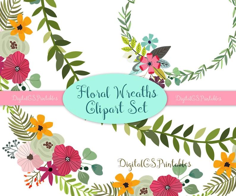 Floral Wreath clipart hand drawn clipart digital wreath clip art hand drawn clip art spring flower wreath clipart flower wreath digital