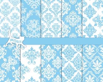 Baby blue digital paper Blue damask digital paper scrapbook paper printable paper Blue paper light blue damask Commercial use