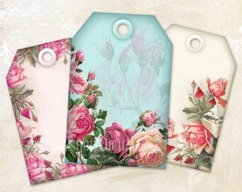 Printable gift tags printable tags Digital gift tags digital tags Shabby chic gift tags  floral tags shabby chic tags