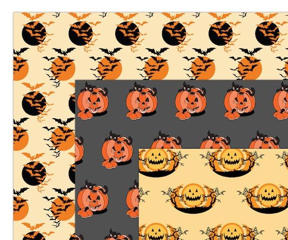 Halloween Digital Paper Halloween Scrapbook Paper Craft Paper Pumpkin Pattern Bat Orange Black Commercial Printable Paper Halloween Paper