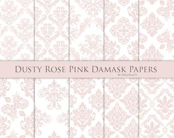 Dusty rose pink damask digital paper Dusty rose digital paper Dusty pink paper Commercial use pink Wedding digital paper