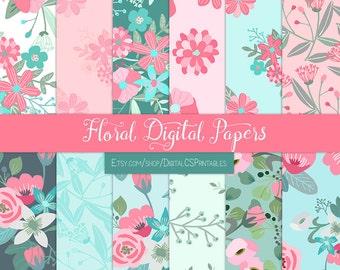 Floral digital paper floral Flower digital paper flower Summer digital paper Pink and mint floral scrapbook paper 12x12 commercial use