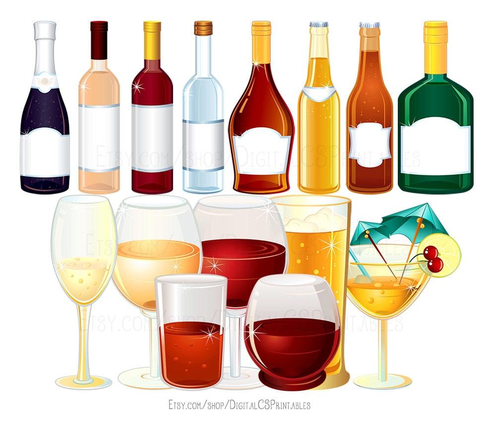 Trinken Sie Clipart Wein Clipart Alkohol Clipart Flasche   Etsy