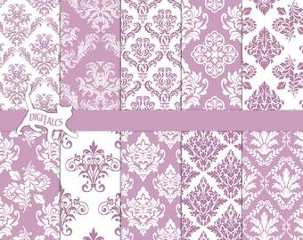 Mauve digital paper Mauve damask digital paper Pastel digital paper pastel damask scrapbook paper printable paper mauve paper Commercial use