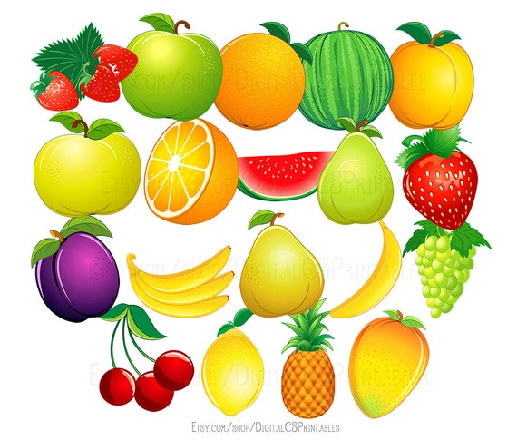 Fruit Clipart Cute Clipart Fruit Clip Art Food Clipart Cute Etsy