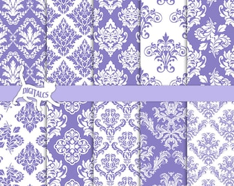 Purple damask digital paper scrapbook paper purple printable paper Purple paper Purple digital Commercial use