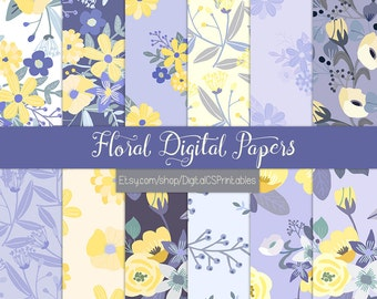 Purple digital paper purple Floral digital paper floral Flower digital paper flower Purple scrapbook paper  commercial use purple and yellow