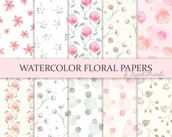 Watercolor floral digital paper Watercolor flowers Watercolor digital paper Pastel floral Watercolor papers Watercolour Digital scrapbook