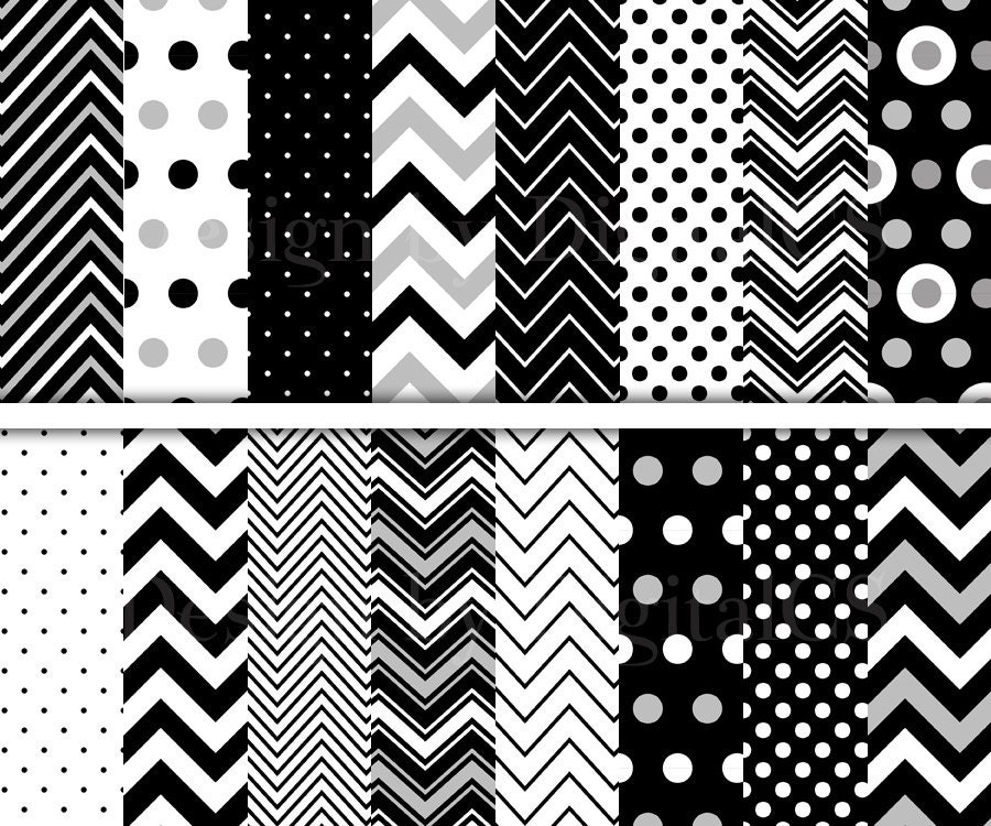 chevron digital paper black and white digital paper polka dots etsy