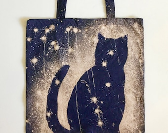 Space Cat Tote Bag - Cotton Canvas Tote - Galaxy Cat Bag - Cat Tote - Hand Dyed Tote - Chrismas Gift for Girlfriend - Cat lover Gift
