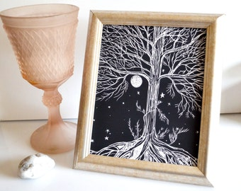 "Tree Of Life Wall Art, Black Tree Print, Tree Illustration Art Print, Black Wall Decor, Night Sky Art ""Sacred Tree"""