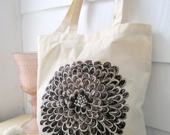 Lilac Wine- Floral Tote Bag - Screen Printed Bag - Hand Printed Flower Tote - Cotton Canvas Tote - Spring Bag