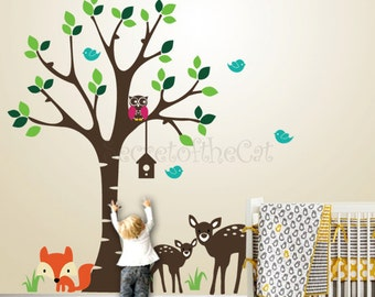 Nursery Wall Decal - Wall decals nursery - kids Wall Decal - Forest Friends - Forest decal - fox decal - Tree decal - nursery