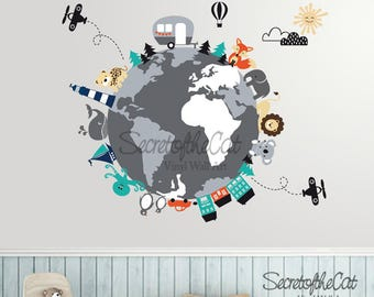 Nursery wall decal wall decal nursery world map decal world map decal map decal world map children wall decal map wall gumiabroncs Images