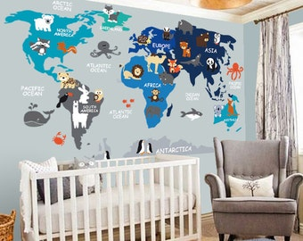 Beautiful Nursery Wall Decal   Wall Decal Nursery   World Map Decal   Map Decal    Children Wall Decal   Map Wall Decal   World Decal  World Map