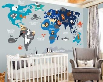 Nursery Wall Decal - Wall Decal Nursery - World Map Decal - Map decal - Children Wall decal - Map wall decal - World decal- World Map  sc 1 st  Etsy & Wall decals nursery | Etsy