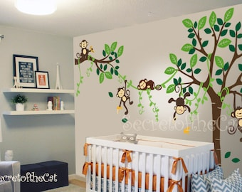 Awesome Nursery Wall Decal Wall Decal Nursery   Tree With Monkeys   Baby Tree Decal    Monkey Decal   Nursery