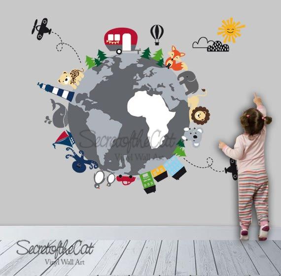 Weltkarte Aufkleber Karte World Map Kinder Wandtattoo Etsy