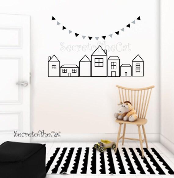 Wandtattoos - Haus - Wandtattoo Aufkleber Kinderzimmer - Kinderzimmer Wand  Aufkleber - Haus Decal - Übersicht