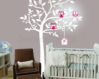 Wall Decals Nursery - Nursery wall decal - Tree Wall Decal - Tree and owls - Windy Tree Decal -  Baby Tree Decal - Monogram - Tree