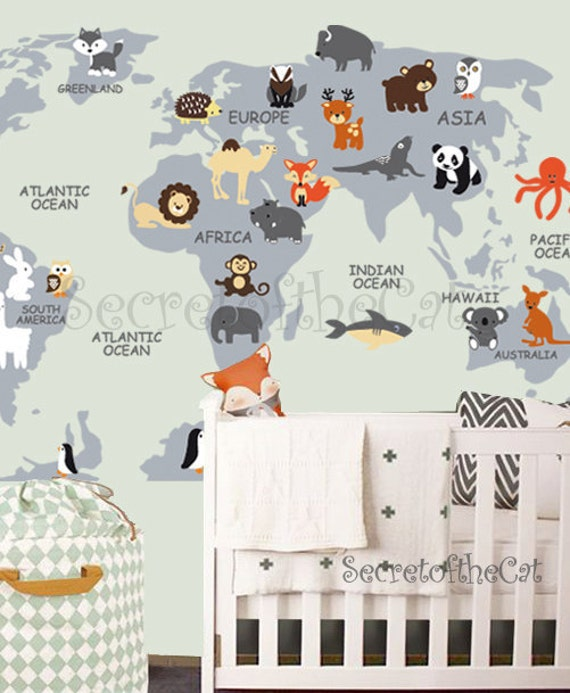 Wall Sticker World Map.Nursery Wall Decal Wall Decal Nursery World Map Decal Etsy
