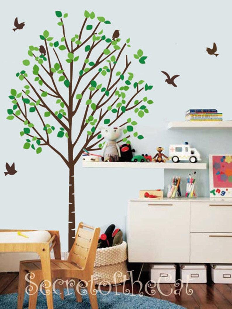 Wall Sticker children decal Nursery Wall Decal Tree Decal Vinyl Decal Kids wall sticker Tree Tree Mural Birds vinyl decal