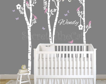 Nursery wall decal - Nursery Tree Decal Birch Trees decal Tree Decal Nursery Large Wall Decal Nursery Decal