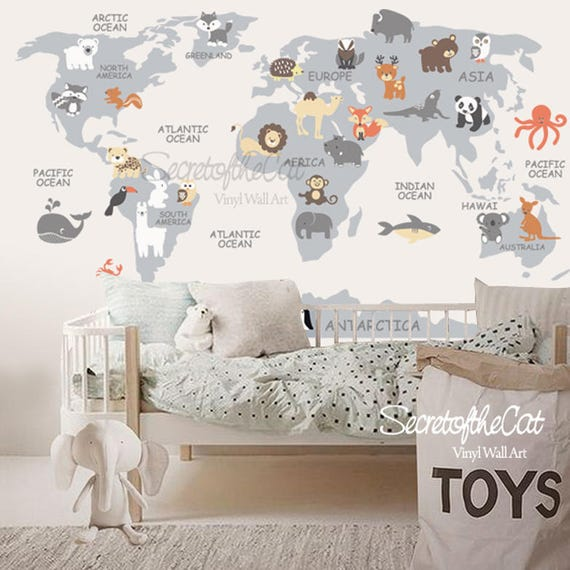 World Map Decal Map Decal World Map Children Wall Decal Etsy