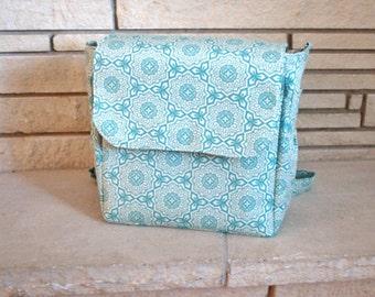 READY TO SHIP - Blue Diaper Bag Backpack - Joel Dewberry Fabric - Convertible Diaper Bag - Crossbody bag - Shoulder bag - Diaper Bag