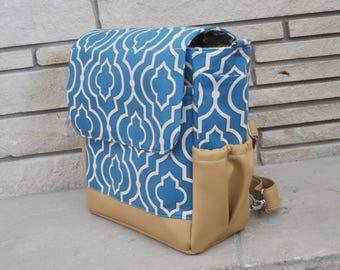 Cerulean Blue and Vegan Leather Backpack Diaper Bag - Convertible Diaper Bag - Crossbody bag - Shoulder bag - Diaper Bag