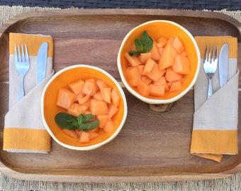 Pair of Tall Cantaloupe Bowls