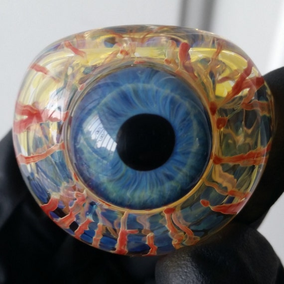 Glass Eye Pipe Bowl Color Changing Inside Out W Bloody Etsy