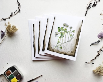 Clovers Nature Art Blank Greeting Cards - pack of 4