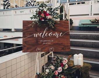 Welcome Sign, Wedding Signage, Rustic Wedding Decor, Bride Groom Sign, Bohemian Wedding Decor